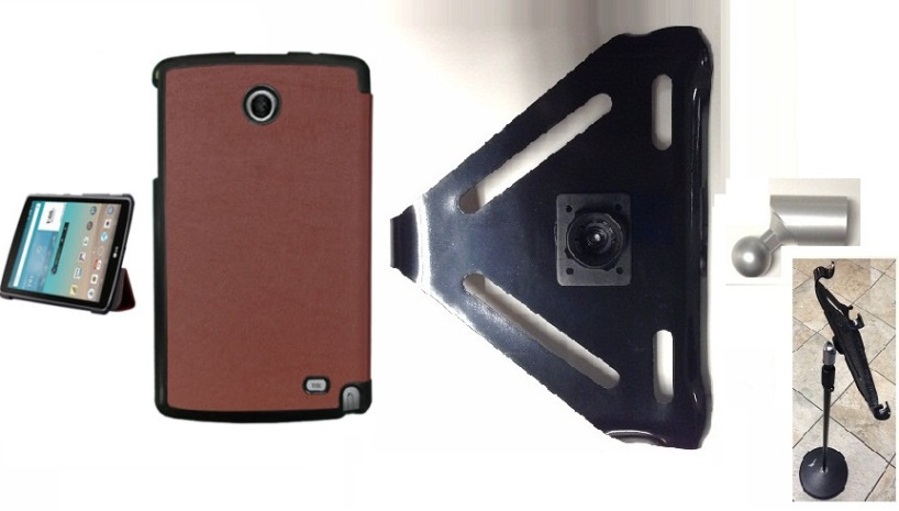 SlipGrip Mic Stand Holder For LG G Pad F 8.0 Using Genuine Leather Case